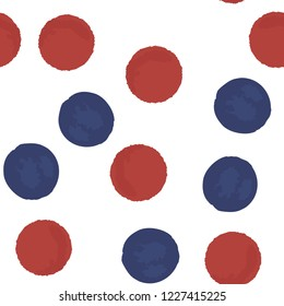 Beautiful Сontinuous pattern polka dots in blue and red colors. Vector. Elements are not cropped. Pattern under the mask.Perfect design for posters, cards, textile, web etc.