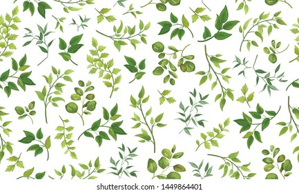 Beautiful pattern seamless of different tree, natural branches, green leaves, herbs, hand drawn watercolor style fresh rustic eco. Vector decorative cute elegant illustration isolated white background