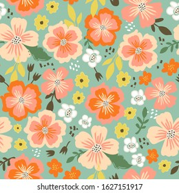Beautiful pattern in small abstract flower. Small colorful flowers. Teal background. Spring or summer ditsy seamless tile in coral, orange, yellow and dark green floral for paper, textile or fabric.