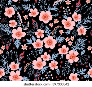 Beautiful pattern in small flower. Small pink flowers. Black background. Seamless floral pattern.