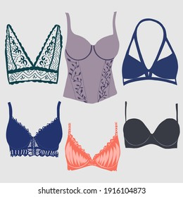 Beautiful pattern thongs and lace bras. Sensuality and femininity concept.