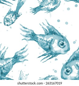 Beautiful pattern of watercolor vector fishes
