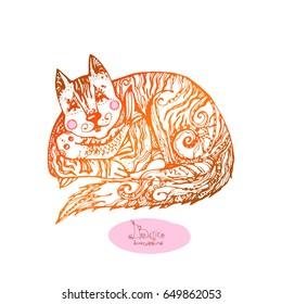 Beautiful patterned batik background of Cat. Print. Design element.