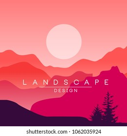 Beautiful peaceful mountain landscape, red and pink mountain ranges at sunset, nature background for banner, flyer, poster and cover, vector ilustration
