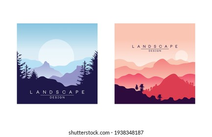 Beautiful Peaceful Mountain Landscape at Sunrise and Sunset, Majestic Nature Background, Banner, Poster, Cover Set Vector Illustration