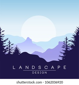 Beautiful peaceful mountains landscape at sunset, nature background for banner, flyer, poster and cover, vector ilustration