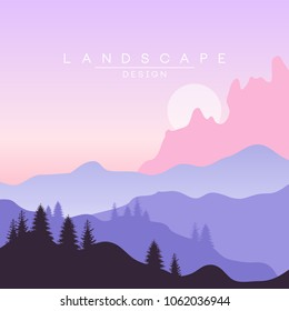Beautiful peaceful natural landscape, mountainous terrain background for banner, flyer, poster and cover, vector ilustration