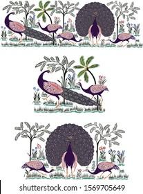 Beautiful Peacock Border illustration art