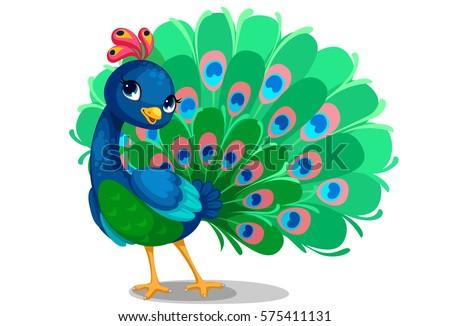 Beautiful Peacock Cartoon Outline Drawing Color Stock Vektorgrafik