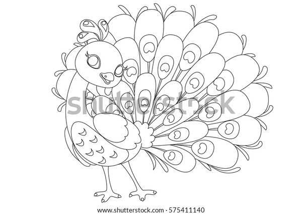 Beautiful Peacock Cartoon Outline Drawing Color Stock Vector