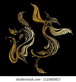 Beautiful peacock. Exotic bird. Vector hand drawn detailed illustration