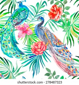 Beautiful peacock pattern. Tropical seamless pattern. Peacocks and plants. Vector. Peacocks and plants.