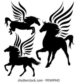 beautiful pegasus horses black silhouettes over white
