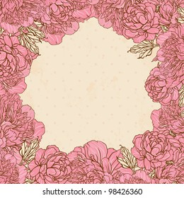 Beautiful peony frame design on beige background. Hand drawn vector illustration.