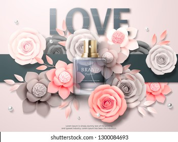 Beautiful perfume ads with light grey and pink paper flowers in 3d illustration