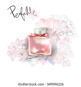 Beautiful perfume bottle with blooming apple tree branches. Beautiful and fashion background. Template Vector.