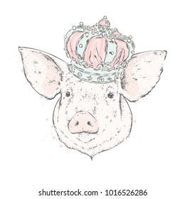 Beautiful pig in the crown. Vector illustration.