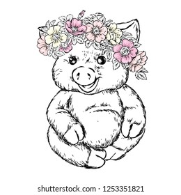 A beautiful pig a wreath of wild rose. Vector illustration for postcard or poster, print for clothes. Spring and summer, a bouquet of flowers. Vintage and retro. Hipster.