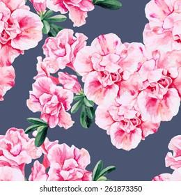 Beautiful pink Azalea seamless watercolor pattern