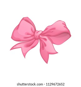 Beautiful pink bow. Vector mulichny element for decor of a gift box or greeting card.