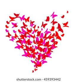 beautiful pink butterflies, heart. Vector.