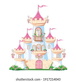 A beautiful pink castle of a beautiful princess with a balcony and heart-shaped jewels, towers, windows and gates. Vector illustration of fairy tale architecture on a white background.