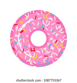 A beautiful pink donut with raspberries and candies. Sweet food for girls. Design for sticker, website. Modern baking for the menu.