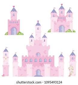 Beautiful Pink Fairy Tale Fantasy Castle Tower Design Set Flat Vector Illustration Isolated on White