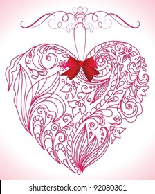 Beautiful pink floral heart, vector