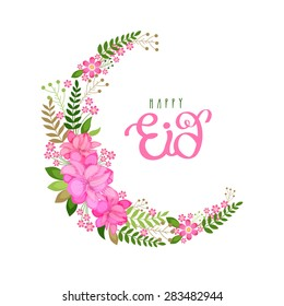 Beautiful pink flowers and leaves decorated crescent moon on white background for Islamic festival, Happy Eid celebration.