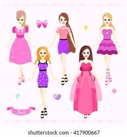 Beautiful Pink Girls Vector Design