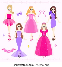 Beautiful Pink Girls Vector Design