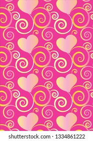 beautiful pink hearts and flourish gradient pattern design with transparency effect for gift cards, greeting cards and celebration surface pattern designs, textiles, fabric, posters and wallpapers.