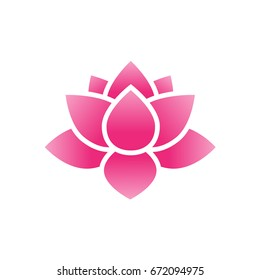 beautiful pink lotus vector, water lily flowers icon illustration