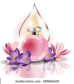 Beautiful pink perfume bottle on the background of drops of perfume, cosmetic oil. Summer background.Vector illustration