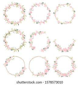 beautiful pink sakura or cheery blossom flower wreath collection eps10 vectors illustration