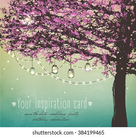 Beautiful pink tree with decorative lights for party. Garden party invitation. Inspiration card for wedding, date, birthday, tea party