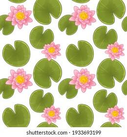 Beautiful pink waterlily or lotus flower. Seamless vector pattern.