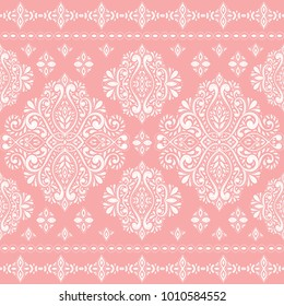 Beautiful pink and white floral seamless pattern. Vintage. Traditional, Ethnic, Turkish, Indian motifs. Great for fabric and textile, wallpaper, packaging or any desired idea.