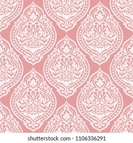 Beautiful pink and white floral seamless pattern. Vintage vector, paisley elements. Traditional, Turkish, Indian motifs. Great for fabric and textile, wallpaper, packaging or any desired idea.