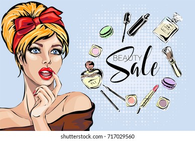 Beautiful pin-up style sexy woman with red hair dreaming about beauty products for makeup. Beauty and fashion industry advertising vertical banner vector illustration art