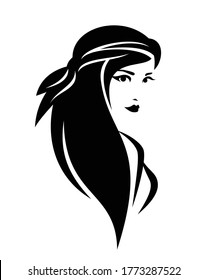 beautiful pirate woman with long hair - female corsair black and white vector portrait outline