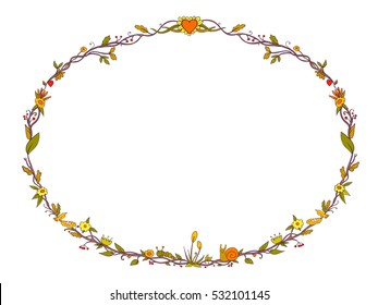 Beautiful plants vector decorative frame. Colored branch, flowers, leaves and hearts illustration for greeting card, print or patchwork.