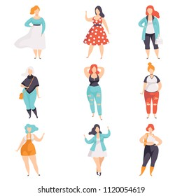 Beautiful plus size women in fashionable clothes set, curvy, overweigh girl, body positive vector Illustrations on a white background