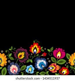 Beautiful Polish floral folk line seamless decoration vector