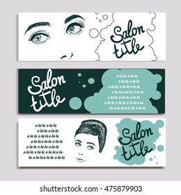 Beautiful portrait retro woman, vector illustration. Copy space for text may be used as template for beauty advertising banner .