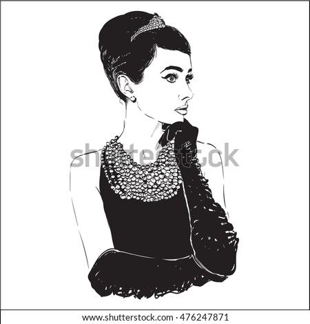 Beautiful portrait retro woman
