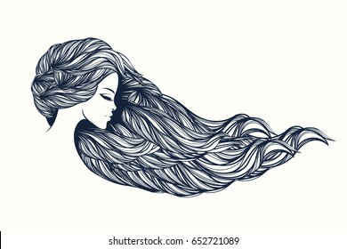 Beautiful portrait of a woman with long, wavy hair.Hair salon vector illustration.