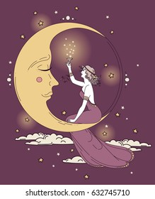 beautiful poster in art nouveau style with party woman and moon in starry sky, can be used for party invitations, lilac colors, vector illustration