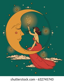 beautiful poster in art nouveau style with party woman and moon in starry sky, can be used for party invitations, vector illustration